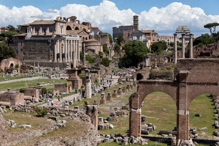 The Roman Forum in the city of Rome, Italy.
