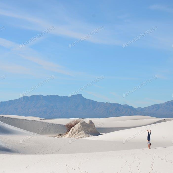 Handstand in White Sands