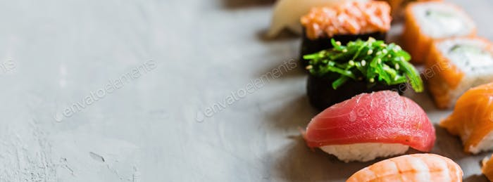 Horizontal long banner for web design with japan food sushi. Copy space. Delivery service