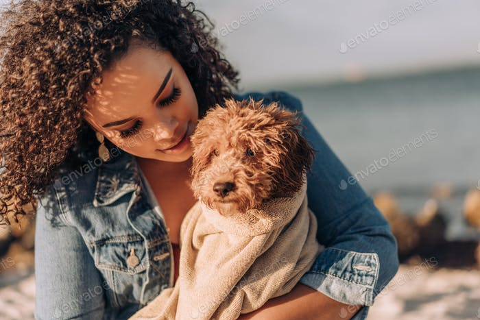 Puppy dog at the beach and loving owner