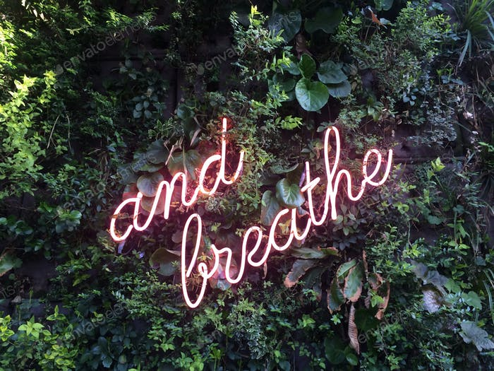 """""""And breathe"""" neon sign on a green wall"""