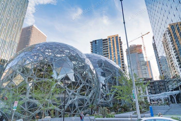 Amazon World Headquarters Spheres terrarium greenhouse globes
