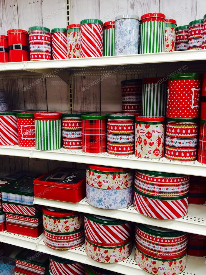 Red & Green cookie tins