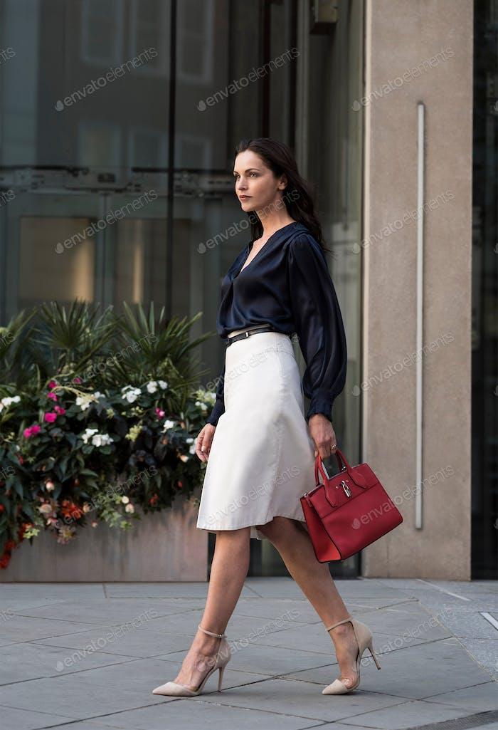 Caucasian business woman in London. 1