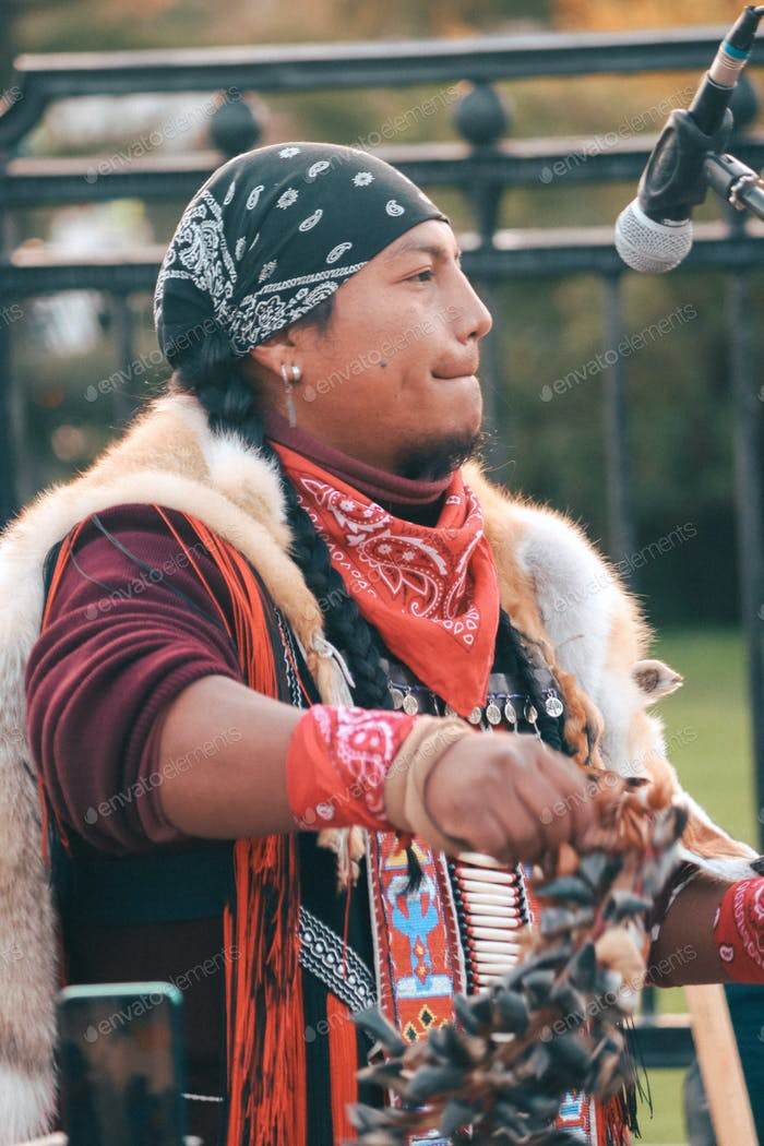 Andean musician outdoors