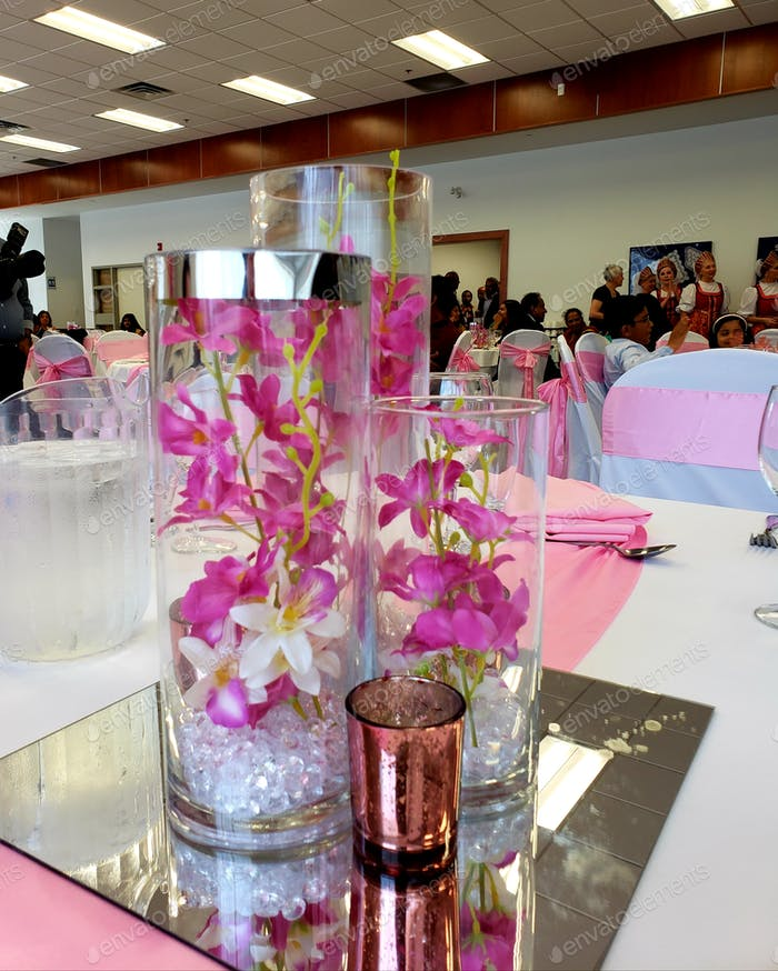 Reception facility decorated in pink