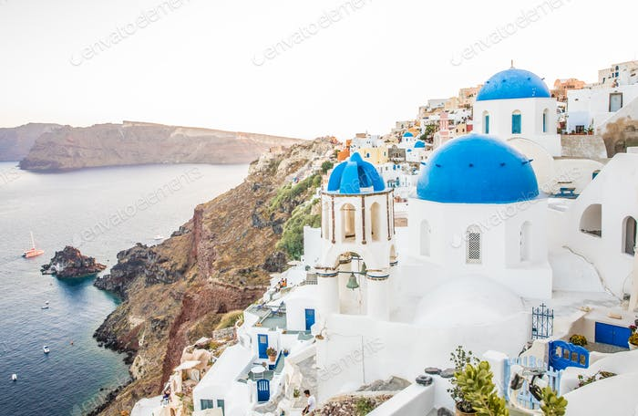 Church In Blue And White In Famous Greek Island Santorini In Cyclades