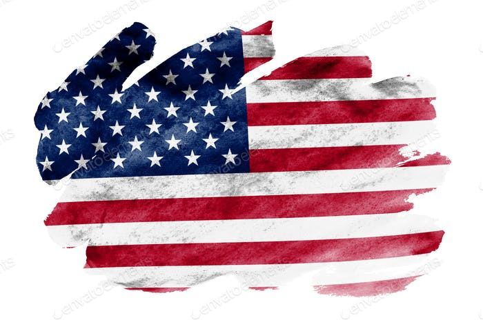 United States of America flag  is depicted in liquid watercolor style isolated on white background