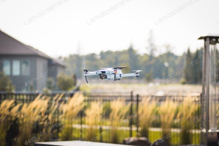 A drone surveys the yard