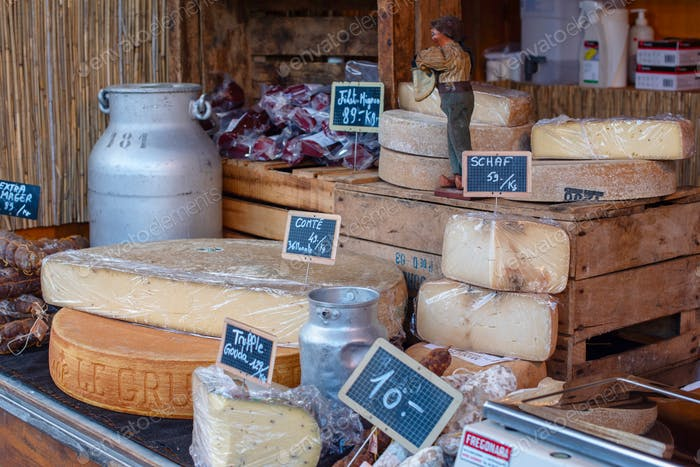 Swiss cheese on traditional Christmas market in Luzern Switzerland