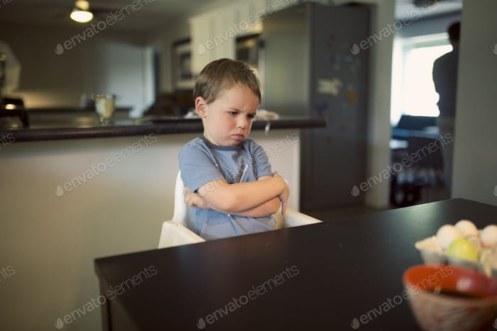 unhappy little boy