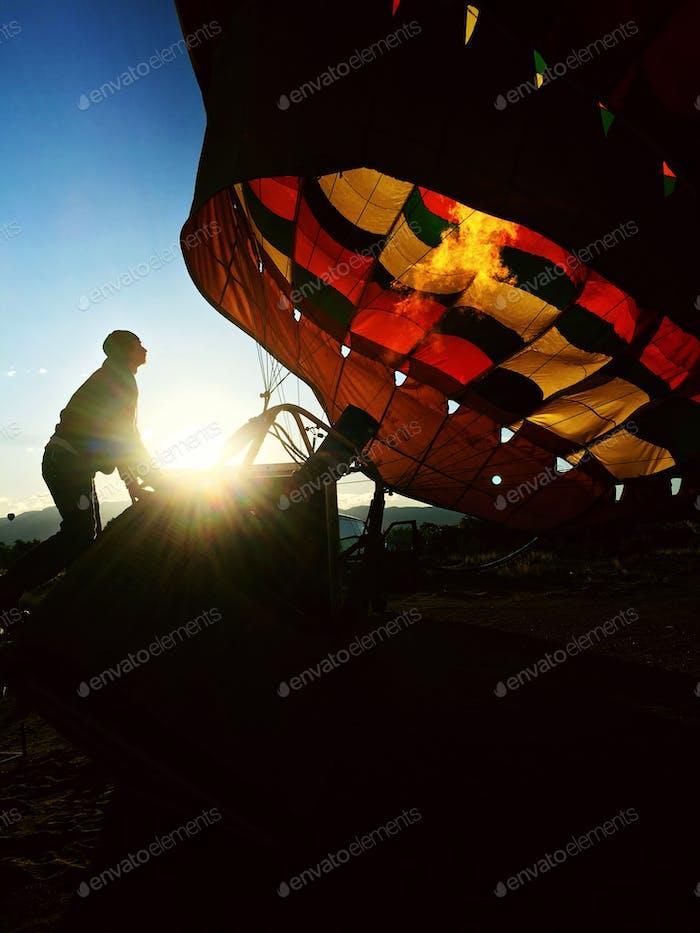 Sunrise and hot air balloon