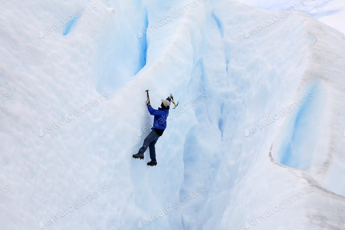 Ice climber on the Perito Moreno Glacier in Patagonia in southern Argentina, South America.