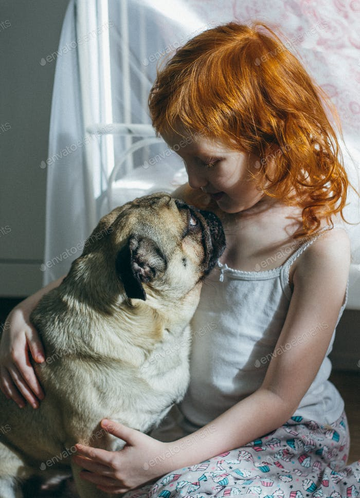 The pug stares loyally into the face of the little red-haired girl.