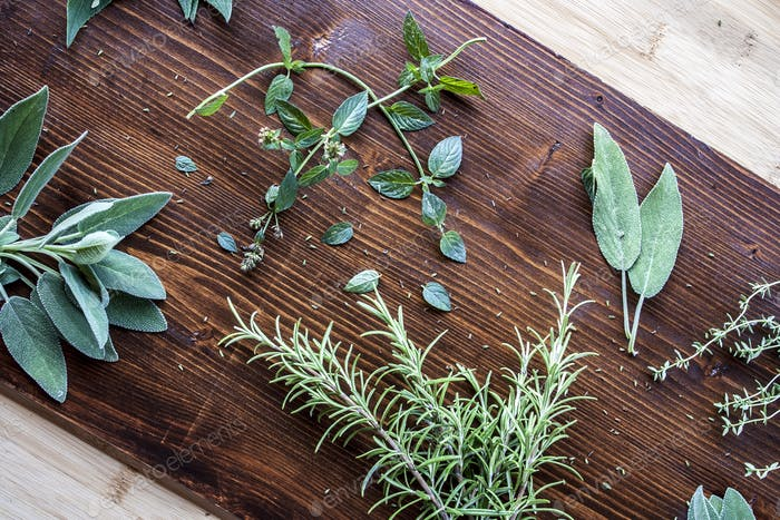 Rosemary, sage, mint, thyme and mentholated sage scattered on a dark wooden table