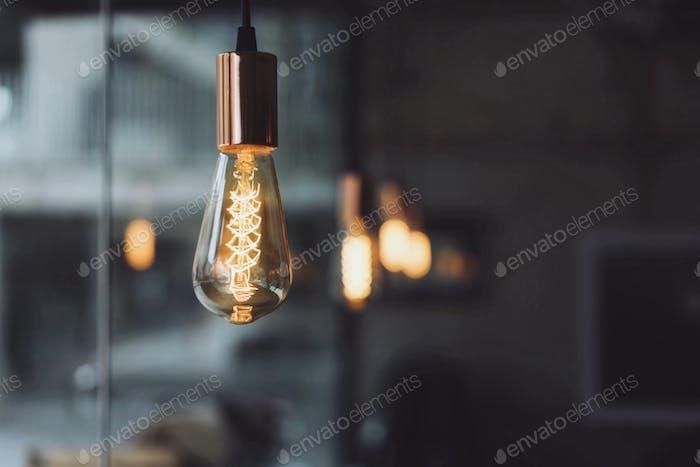Retro Light bulb in coffee shop.