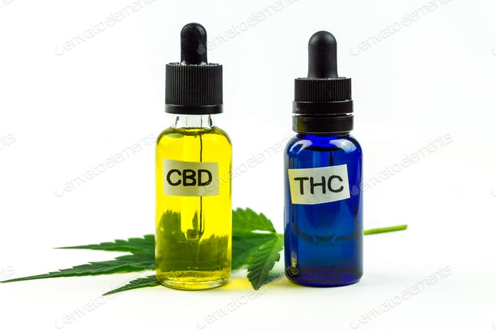 CBD and THC oils bottles isolated