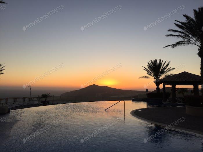 Resort Pool Sunset