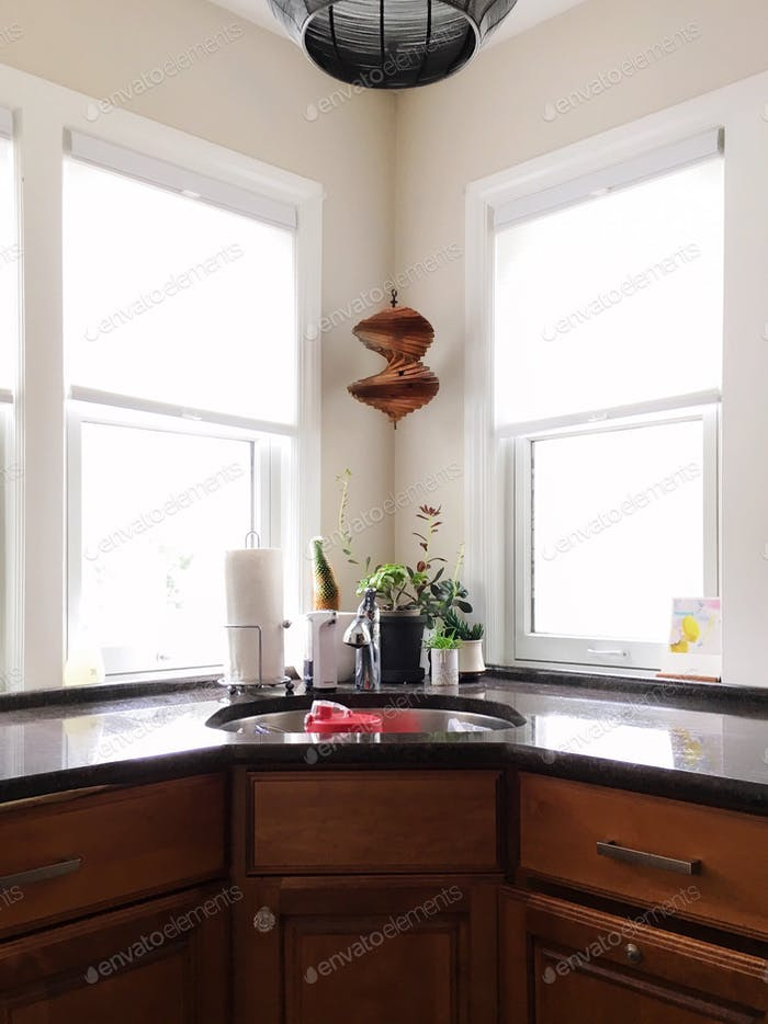 Brightly lit kitchen sink and countertops.