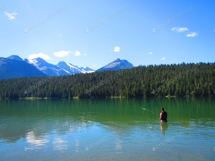 Fly fishing in a remote Northern BC lake