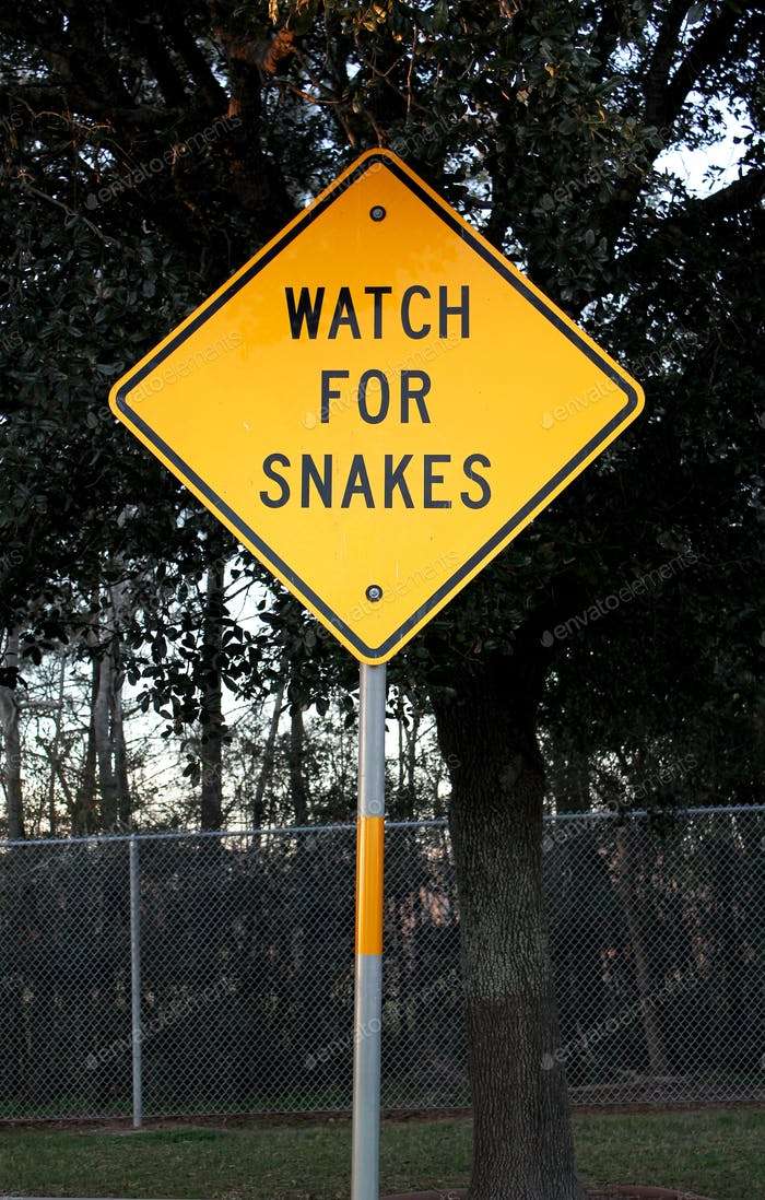 Watch out for snakes warning sign in Texas