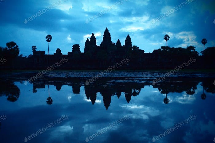 silhouette of Angkor Wat at dawn just before sunrise, Cambodia, Southeast Asia