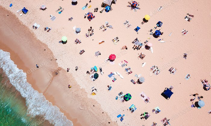 A hot summer day on the beach in Sydney from the air