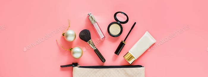 Merry Christmas xmas and happy new year 2021 web banner with cosmetics products on pink