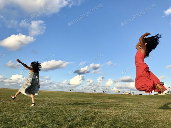 Friends dancing with the clouds