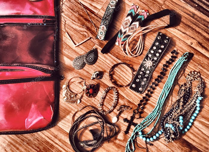 Jewelry laying flat... weekend getaway