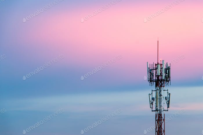 Cellular Signal Tower The background is sky in the evening, blue and pink.