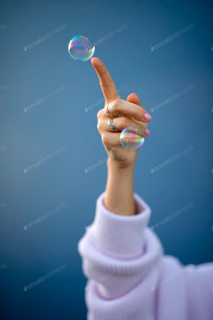 Bubbles hand finger soap bubbles