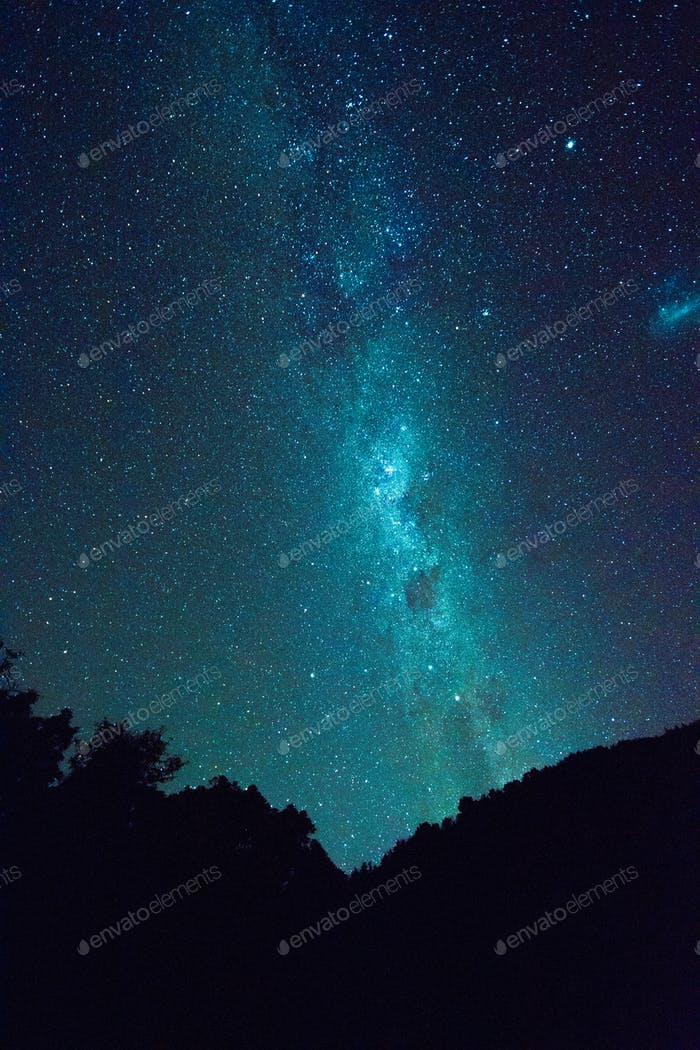 NOMINATED • The milky way as seen in New Zealand. Perfect blue background with space for copy.