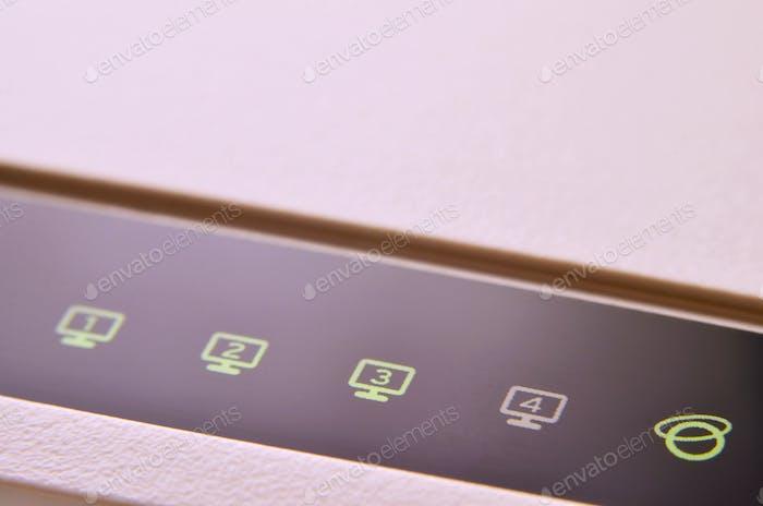 Detailed photo light bulbs from the Internet modem