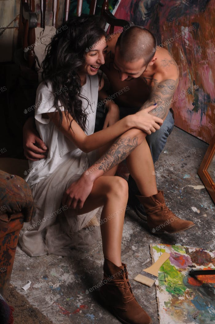 Couple in art studio