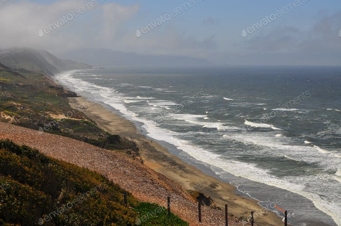 Scene of a Northern California Bluff & Beach from above