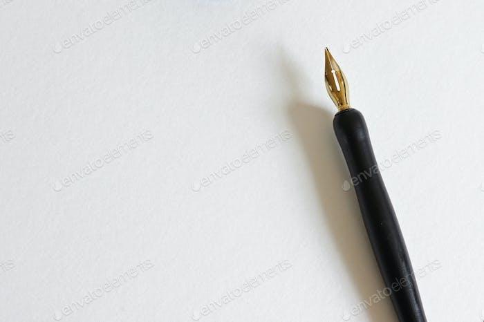 Bolígrafo de caligrafía sobre papel en blanco