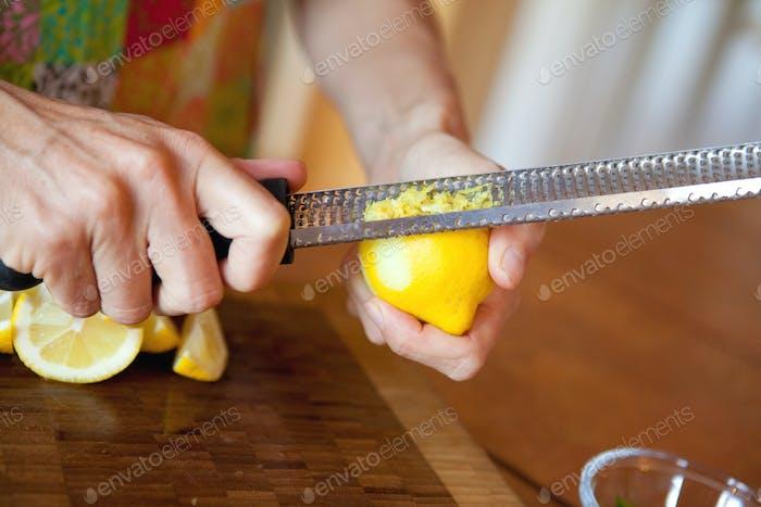 making lemon zest