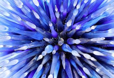Close up of futuristic blue glass sculpture
