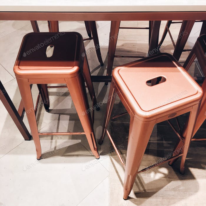 Modern copper stools.