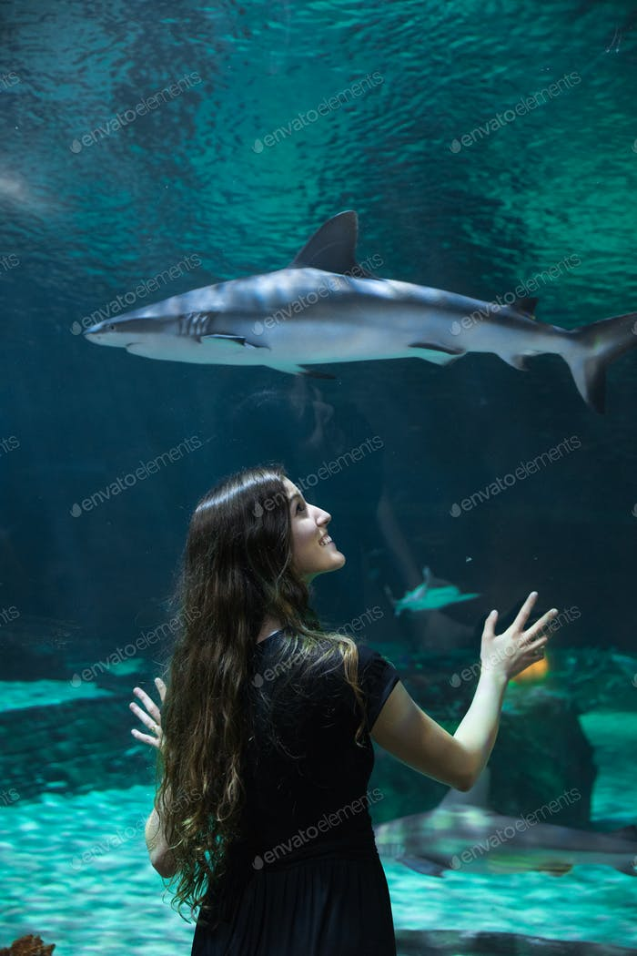 Woman viewing the shark exhibit in an aquarium