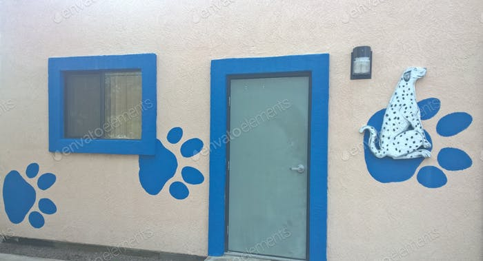 Veterinarian Office! The outside of the vet building is decorated with an animal theme!
