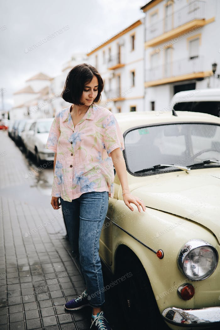 Girl with green car