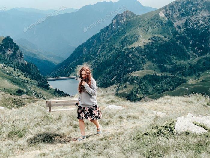 Mountains, trekking, climbing, landscape, nature, young woman, walking, lake, windy, long hair