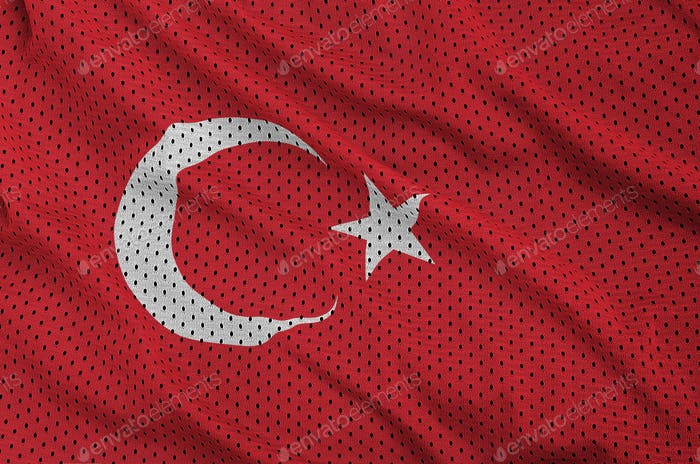 Turkey flag printed on a polyester nylon sportswear mesh fabric with some folds