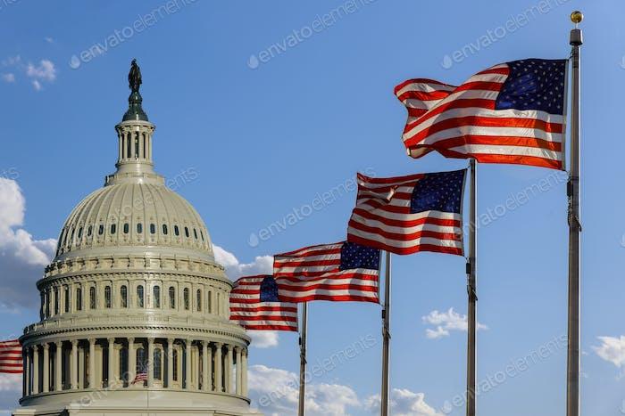 Capitolio en Washington, DC con banderas de Estados Unidos en el cielo