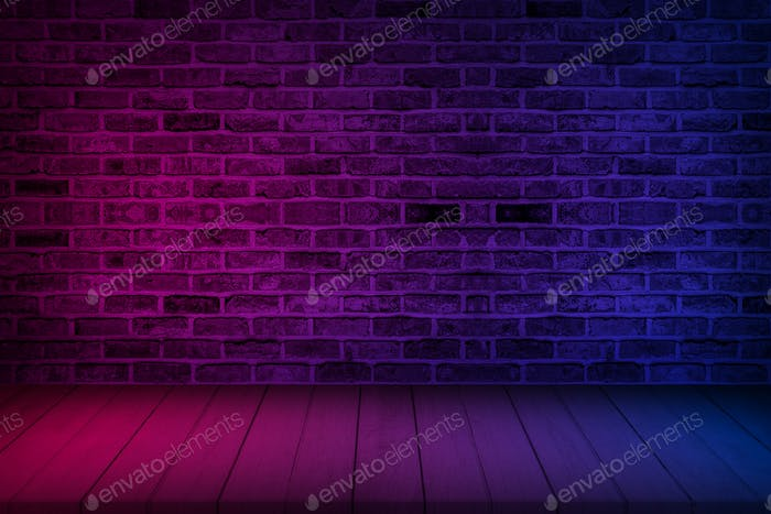 Neon light on brick wall texture background. Lighting effect red and blue neon background