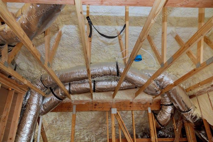 Insulation of attic with fiberglass cold barrier and insulation material insulation attic heating