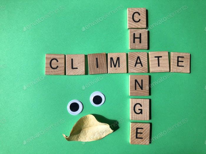Klimawandel in Buchstaben des Alphabets aus Holz