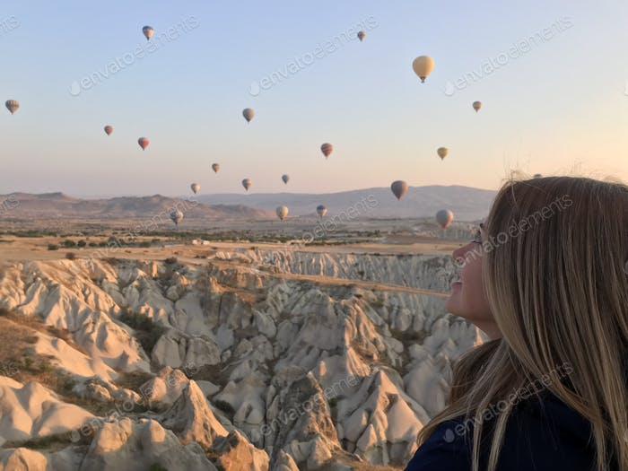 Amazing sunrise in Cappadocia, Turkey, September